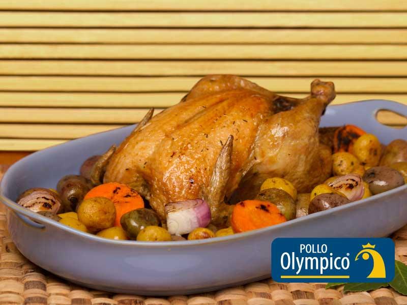 Pollo al horno con papitas rústicas