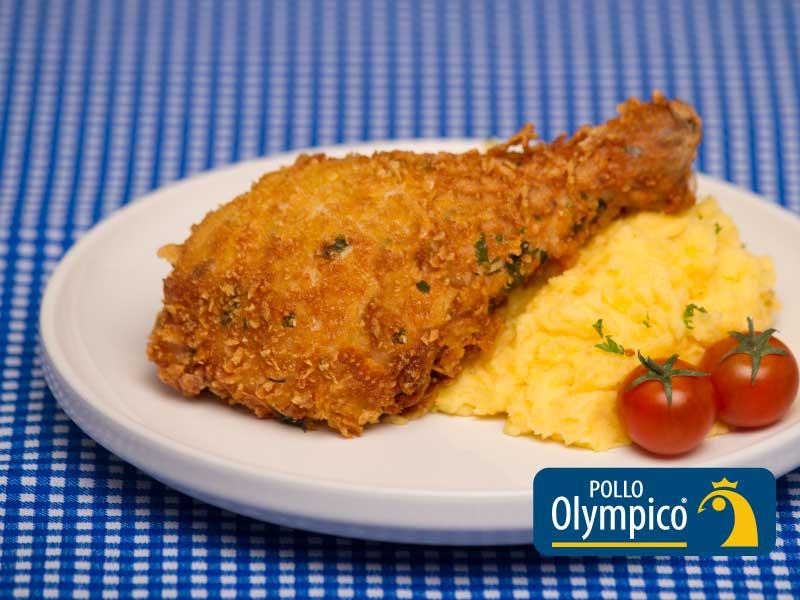 Pollo Crocante con puré de papa criolla